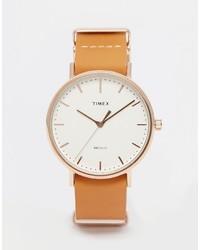 Timex Weekender Fairfield Leather Watch In Brown Tw2p91200