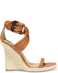 Burberry London London Leather Espadrille Wedge Sandals
