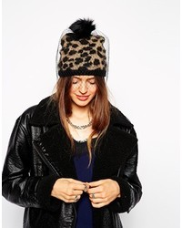 Leopard beanie with detachable pom and veil multi medium 121959