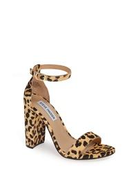 Tan Leopard Calf Hair Heeled Sandals