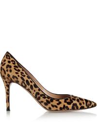 Gianvito Rossi 85 Leopard Print Calf Hair Pumps Leopard Print
