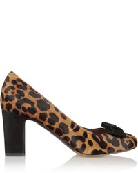 Tabitha Simmons Flora Bow Embellished Leopard Print Calf Hair Pumps