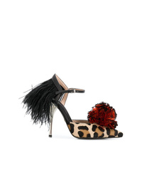Giambattista Valli Leopard Print Feather Pumpps