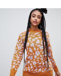 Monki Oversized Leopard Print Crew Neck Jumper In Purple And Orange