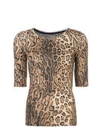 Tan Leopard Crew-neck T-shirt