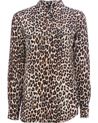 Tan Leopard Dress Shirt