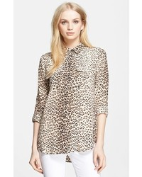 Slim signature leopard print silk shirt medium 154571