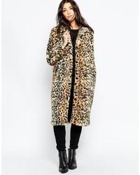 Brave Soul Faux Fur Leopard Coat
