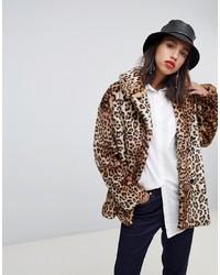 Stradivarius Leopard Double Breasted Faux Fur Coat
