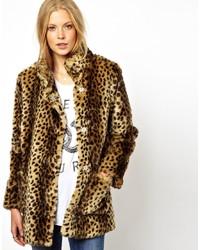 Asos Longline Animal Faux Fur Coat