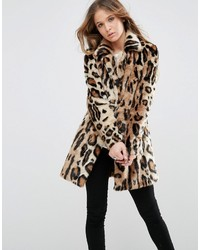 Glamorous Shawl Collar Coat In Large Scale Leopard Faux Fur