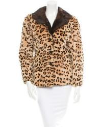 Tan Leopard Fur Jacket