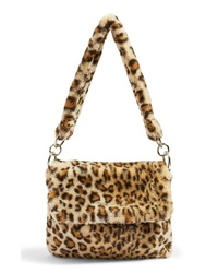 Tan Leopard Fur Tote Bag
