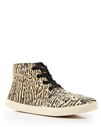 Tan Leopard High Top Sneakers