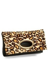 Tan Leopard Leather Clutch