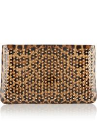 Loubiposh spiked leopard print patent leather clutch leopard print medium 530146