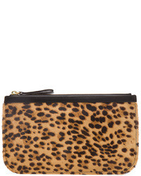Medium leopard calf hair pouch in natural black medium 4720