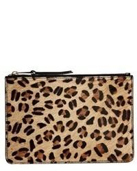 Par leopard print leather zip top pouch leopardblk medium 76303