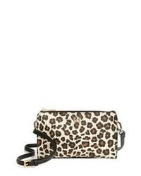 Tan Leopard Leather Crossbody Bag