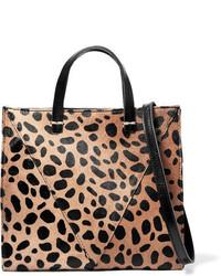 Clare v simple mini leopard print calf hair and textured leather shoulder bag leopard print medium 964496