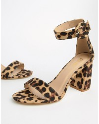 Tan Leopard Leather Heeled Sandals