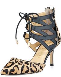 Tan Leopard Leather Pumps