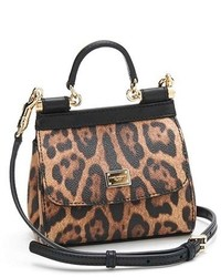 Dolce & Gabbana Dolcegabbana Mini Miss Sicily Leopard Print Leather Satchel