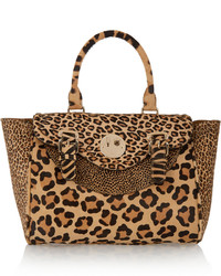 Hill & Friends Happy Satchel Leopard Print Calf Hair Tote Leopard Print