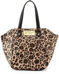 Tan Leopard Leather Tote Bag