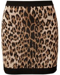 Tan Leopard Mini Skirt
