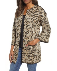 Tan Leopard Open Cardigan