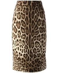 Tan Leopard Pencil Skirt