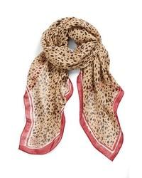 Tory Burch Animal Print Brushstroke Scarf Leopard Aubrun One Size One Size