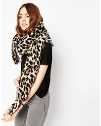 Asos Collection Oversized Lightweight Scarf In Leopard Print