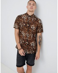 Tan Leopard Short Sleeve Shirt