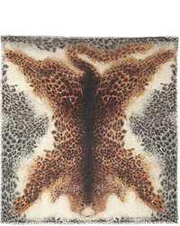 Tan Leopard Silk Scarf
