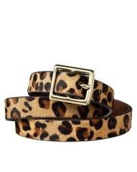 Tan Leopard Suede Belt