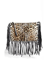 Valentino Animal Print Calf Hair Clutch Leopard