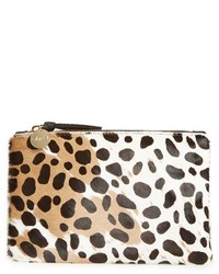 Clare Vivier Clare V Core Leopard Print Genuine Calf Hair Pouch Brown
