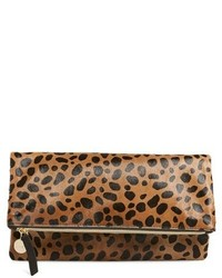 Clare v genuine calf hair leopard print foldover clutch medium 436131