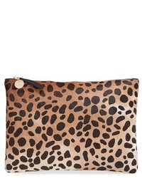 Clare v genuine calf hair leopard print zip clutch beige medium 436134