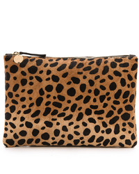 Clare v leopard flat haircalf clutch medium 381938