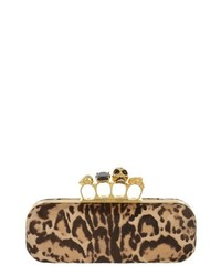 Alexander McQueen Knucklebox Leopard Print Calf Hair Clutch Black Tan
