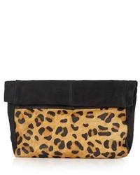 Topshop Leopard Print Suede Calf Hair Clutch