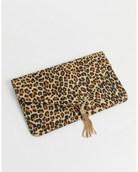 ASOS DESIGN Tassel Clutch Bag In Leopard