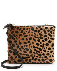 Tan Leopard Suede Crossbody Bag