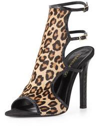 Tan Leopard Suede Heeled Sandals