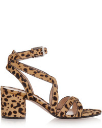 Leopard print calf hair sandals leopard print medium 419855