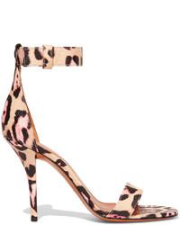 Retra leopard print textured leather sandals beige medium 419856