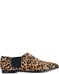Glint leopard print calf hair and leather loafers medium 6448400